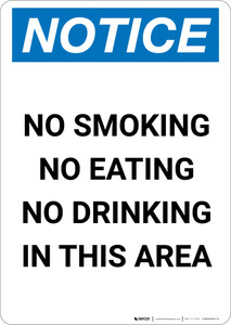 Notice: No Smoking No Eating No Drinking in This Area - Portrait Wall Sign