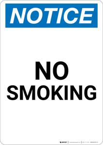 Notice: No Smoking - Portrait Wall Sign