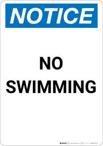Notice: No Swimming - Portrait Wall Sign