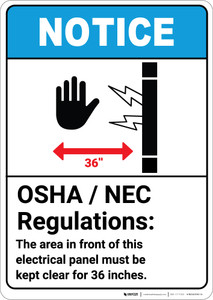 Notice: OSHA NEC Electrical Panel Regulations ANSI with Graphic - Portrait Wall Sign