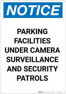 Notice: Parking Facilities Under Camera Surveillance - Portrait Wall Sign