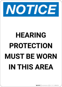 Notice: Hearing Protection Must be Worn - Portrait Wall Sign