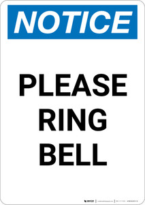 Notice: Please Ring Bell - Portrait Wall Sign