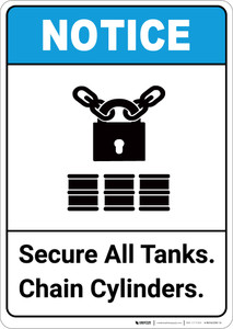 Notice: Secure All Tanks Chain Cylinders ANSI with Icon - Portrait Wall Sign
