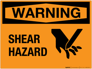 Warning: Shear Hazard - Wall Sign