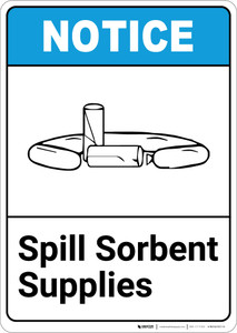 Notice: Spill Sorbent Storage ANSI with Icon - Portrait Wall Sign
