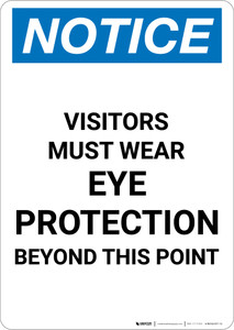 Notice: Visitors Must Wear Eye Protection Beyond This Point - Portrait Wall Sign
