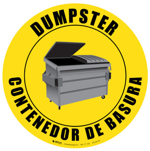 Dumpster - English and Spanish - Floor Sign