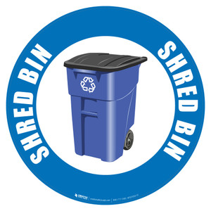 Shred Bin (Blue) - Floor Sign