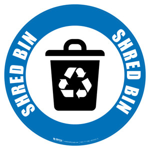 Shred Bin (Blue) Icon - Floor Sign