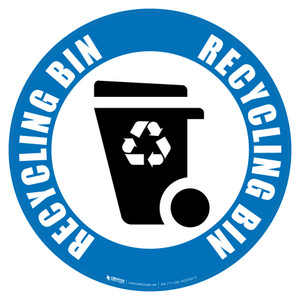 Recycling Bin (Blue) Icon - Floor Sign