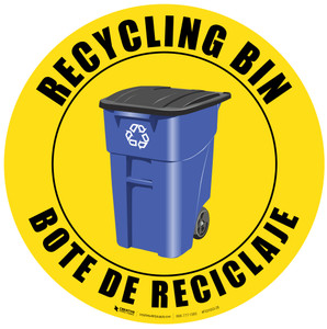 Recycling Bin - English and Spanish - Floor Sign