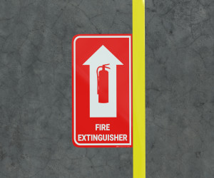 Fire Extinguisher with Arrow - Floor Marking Sign