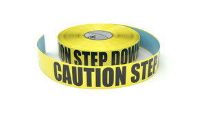 Caution Step Down - Inline Printed Floor Marking Tape