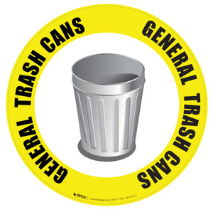 (Yellow) General Trash Can Floor Sign