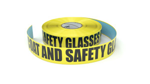 Lab Coat and Safety Glasses Required - Inline Printed Floor Marking Tape
