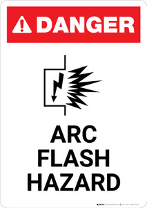 Arc Flash Hazard with Icon - Portrait Wall Sign
