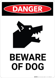 Beware of Dog with Icon - Portrait Wall Sign
