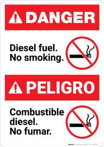 Bilingual Diesel Fuel No Smoking Spanish - Portrait Wall Sign