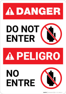 Bilingual Do Not Enter Spanish - Portrait Wall Sign