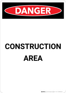Construction Area - Portrait Wall Sign