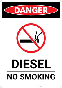 Diesel No Smoking with Icon - Portrait Wall Sign
