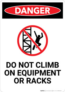 Do Not Climb On Equipment or Racks With Icon - Portrait Wall Sign