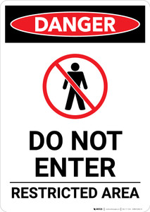 Do Not Enter Restricted Area With Icon - Portrait Wall Sign