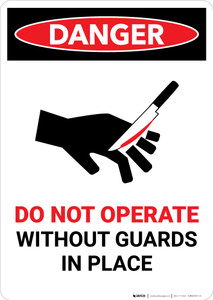 Do Not Operate Without Guards with Icon - Portrait Wall Sign
