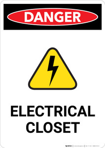 Electrical Closet with Hazard Icon - Portrait Wall Sign