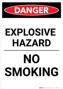Explosive Hazard No Smoking - Portrait Wall Sign