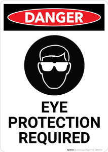 Eye Protection Required with Icon - Portrait Wall Sign