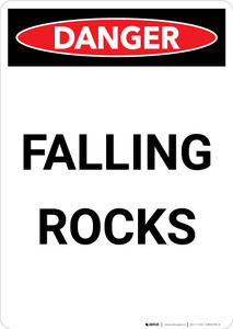 Falling Rocks - Portrait Wall Sign
