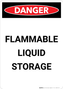 Flammable Liquid Storage - Portrait Wall Sign