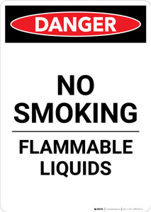 Flammable Liquids No Smoking - Portrait Wall Sign