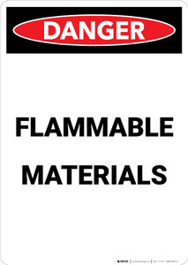 Flammable Materials - Portrait Wall Sign