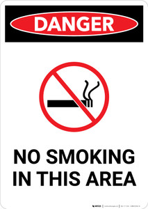 Flammable No Smoking In This Area Sign With Icon - Portrait Wall Sign