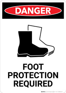 Foot Protection Required with Icon - Portrait Wall Sign