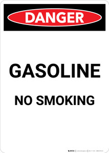 Gasoline No Smoking - Portrait Wall Sign