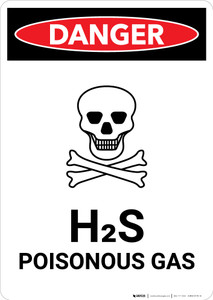 H2S Poisonous Gas (Hydrogen Sulfide) with Icon - Portrait Wall Sign