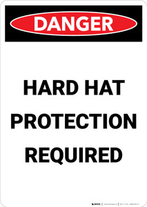Hard Hat Protection Required - Portrait Wall Sign