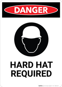 Hard Hat Required with Icon - Portrait Wall Sign