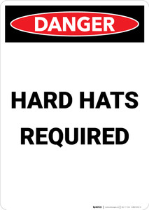 Hard Hats Required - Portrait Wall Sign