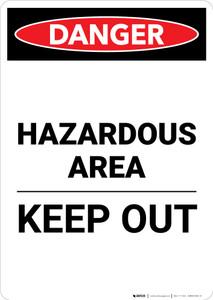 Hazardous Area Keep Out - Portrait Wall Sign
