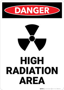 High Radiation Area with Icon - Portrait Wall Sign
