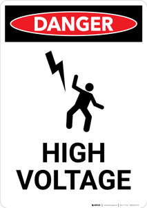 High Voltage with Icon - Portrait Wall Sign