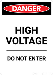 High Voltage Do Not Enter - Portrait Wall Sign