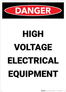 High Voltage Electrical Equipment - Portrait Wall Sign