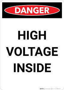 High Voltage Inside - Portrait Wall Sign