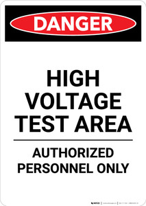 High Voltage Test Area - Portrait Wall Sign